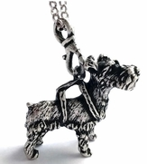 Silver-Metal Schnauzer Puppy Pendant with Chain