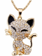 Sparkling Black and Gold-Metal Kitten Pendant with Chain