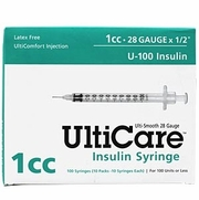 "UltiCare Insulin Syringe U-100, 1cc 28gaX1/2"", 100/Box"