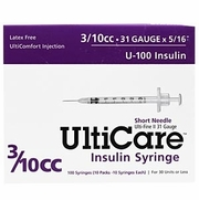 "UltiCare Insulin Syringe U-100 3/10 cc, 31G X 5/16"", 10/Bag"