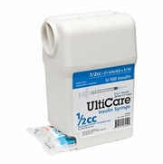 "UltiGuard UltiCare U-100 Insulin Syringe 1/2cc, 31g x 5/16"", Box of 100"