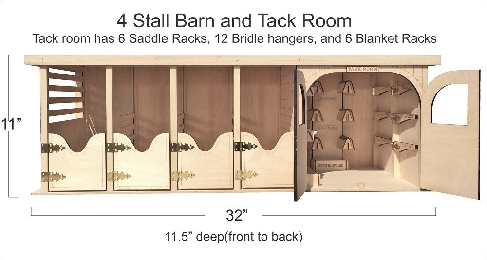 4 stall barn and tack room for 4 stall horse barn
