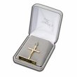 "1 & 1/2"" 14K Gold Crucifix Pendant in a Gold Ends and Genuine Lavender Design"
