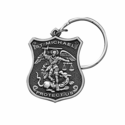 1-1/2 Inch Fine Pewter St. Michael/Police Shield Keychain