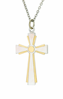 1-1/2 Inch Sterling Silver 2 Tone Flared Cross On 24 Inch Stainless Steel Chain