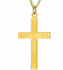 1-1/4 Inch Gold Plated Large Inner Lines Cross On 20 Inch 14K Gold Chain