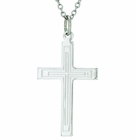 1-1/4 Inch Large Sterling Silver Inner Lines Cross On 20 Inch Stainless Steel Chain