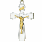 1-1/4 Inch Sterling Silver 2 Toned Flared Crucifix On 24 Inch Stainless Steel Chain