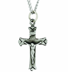 Sterling Silver Budded End Crucifix On 18 Inch Stainless Steel Chain