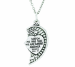 1-1/8 Inch 2 Piece Sterling Silver Heart Mizpah Medal On 18 And 24 Inch Stainless Steel Chain