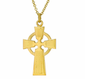 1-1/8 Inch Gold Plated Men's Celtic Cross On 24 Inch 14K Gold Chain