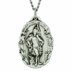 1-1/8 Inch Large Oval Sterling Silver St. Florian Medal on 24 Inch Stainless Steel Chain