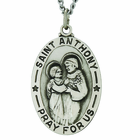 1-1/8 Inch Oval Sterling Silver Saint Anthony Medal On 24 Inch Stainless Steel Chain
