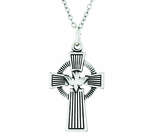 1-1/8 Inch Sterling Silver Celtic Cross With Dove On 24 Inch Stainless Steel Chain