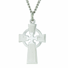 1-1/8 Inch Sterling Silver Men's Celtic Cross Pendant On 24 Inch Stainless Steel Chain
