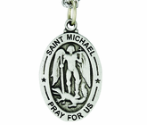 1-1/8 Large Oval Sterling Silver St. Michael Medal On 24 Inch Stainless Steel Chain