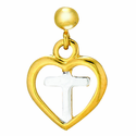 1/2 Inch Gold Plated 2 Tone Heart Cross Earrings