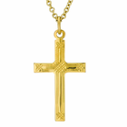 1 Inch Gold Plated Weave Design Center Cross On 18 Inch 14K Gold Chain