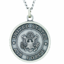 1 Inch Large Nickel Silver Air Force Medal Christ Strengthens Me On Back On 24 Inch Stainless Steel Chain