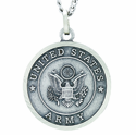 1 Inch Large Nickel Silver Army Medal Christ Strengthens Me On Back On 24 Inch Stainless Steel Chain