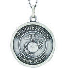 1 Inch Large Nickel Silver Marines Medal Christ Strengthens Me On Back On 24 Inch Stainless Steel Chain