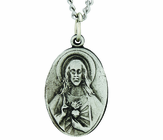 1 Inch Oval Sterling Silver Sacred Heart Scrapular Medal on 18 Inch Stainless Steel Chain