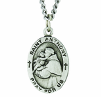 1 Inch Oval Genuine Solid Pewter St. Anthony Medal On 24 Inch Stainless Steel Chain