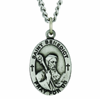 1 Inch Oval Sterling Silver St. Benedict Medal On 24 Inch Stainless Steel Chain