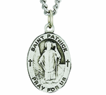 1 Inch Oval Sterling Silver St. Patrick Medal On 24 Inch Stainless Steel Chain
