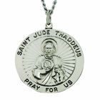 1 Inch Round Saint Jude Sterling Silver Medal on 24 Inch Stainless Steel Chain