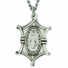 1 Inch Shield Shaped Sterling Silver Miraculous Medal On 18 Inch Stainless Steel Chain