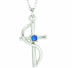 Silver Plated Cross Wire With Sapphire Colored CZ Crystal Stone Pendant On 18 Inch Stainless Steel Chain
