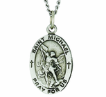 1 Inch Small Oval Sterling Silver St. Michael Medal On 18 Inch Stainless Steel Chain