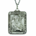 1 Inch Square Sterling Silver St. Patrick Medal On 24 Inch Stainless Steel Chain