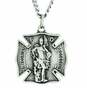 1 Inch St. Florian Firefighter Medal on 24 Inch On Stainless Steel Chain