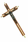 10 Inch Oak / Gold Plated Medal Wall Crucifix
