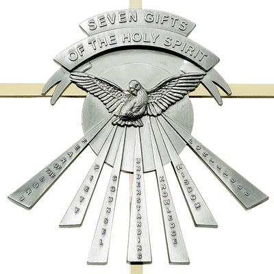 10 seven gifts of the holy spirit brass cross with confirmation dove negle Image collections