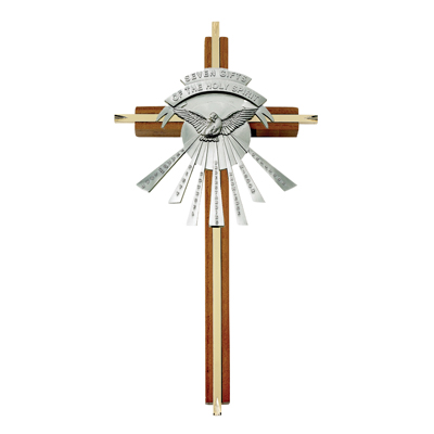 """10"""" Seven Gifts Of The Holy Spirit Wood/Brass Cross With Confirmation Dove"""