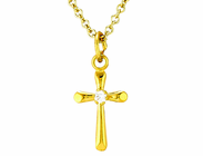 14 K Gold Small Cross With CZ Crystal Stone Pendant On 13 Inch Stainless Steel Chain