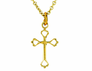 14K Gold Baby Open Heart Cross Pendant On 13 Inch Stainless Steel Chain