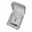 """Sterling Silver 14K Gold Finished Baby Cross Necklaces in a CZ Baquette Stone Design on 13"""" Chain"""