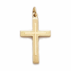 "14K Gold Filled Cross Necklace in a Lined Design on 18"" Chain"