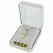 "14K Gold Over Sterling Silver Cross Necklace in an Engraved Design on 24"" Chain"