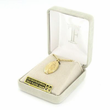 """14K Gold Over Sterling Silver Miraculous Medal  in a Diamond Engraved and Polished Border Design on 24"""" Chain"""