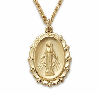 14K Gold Over Sterling Silver Oval Miraculous Gift Boxed