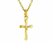 14K Gold Small Crucifix Pendant On 13 Inch Stainless Steel Chain