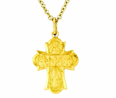 14K Gold Small Four Way Cross Pendant on 13 Inch Stainless Steel Chain