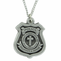 3/4 Inch Fine Pewter Police Badge Cross on 24 In. Stainless Steel Chain