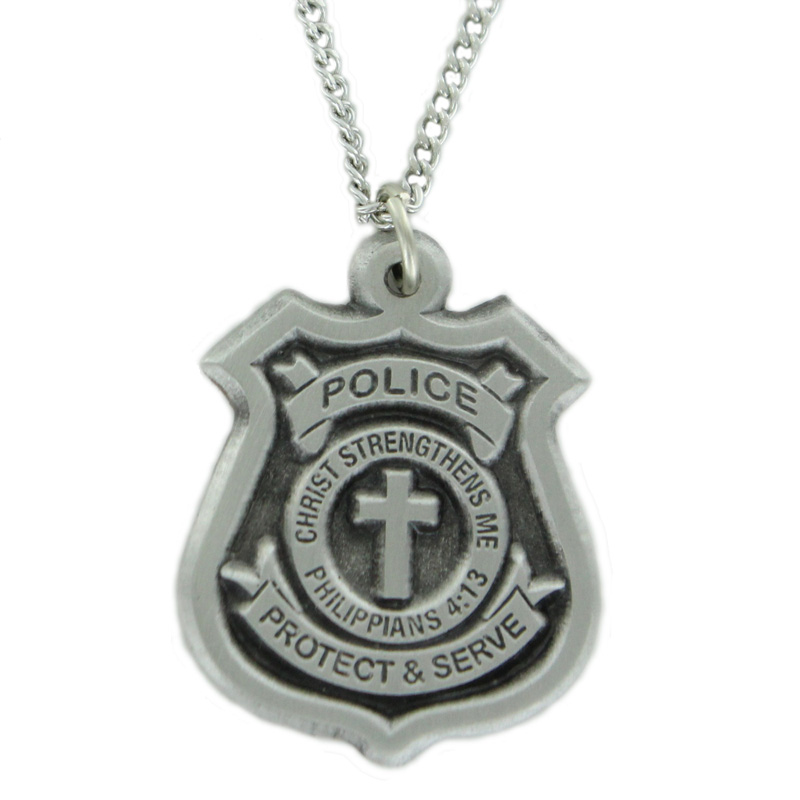 34 inch fine pewter police badge cross on 24 in stainless steel 34 inch fine pewter police badge cross on 24 in stainless steel chain mozeypictures Choice Image