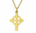 3/4 Inch Gold Plated Small Celtic Cross On 18 Inch 14K Gold Chain